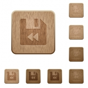 File fast backward on rounded square carved wooden button styles - File fast backward wooden buttons