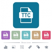 TTC file format white flat icons on color rounded square backgrounds. 6 bonus icons included - TTC file format flat icons on color rounded square backgrounds