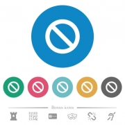Blocked flat white icons on round color backgrounds. 6 bonus icons included. - Blocked flat round icons