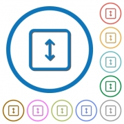 Adjust object height flat color vector icons with shadows in round outlines on white background - Adjust object height icons with shadows and outlines