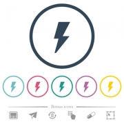 Flash flat color icons in round outlines. 6 bonus icons included. - Flash flat color icons in round outlines