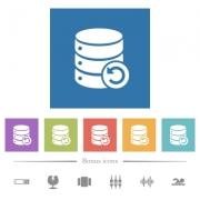 Undo database changes flat white icons in square backgrounds. 6 bonus icons included. - Undo database changes flat white icons in square backgrounds