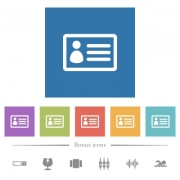 ID card flat white icons in square backgrounds. 6 bonus icons included. - ID card flat white icons in square backgrounds