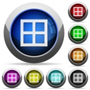 All borders icons in round glossy buttons with steel frames - All borders round glossy buttons