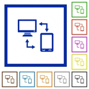 Connecting mobile to desktop flat color icons in square frames on white background - Connecting mobile to desktop flat framed icons