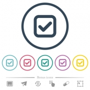 Checkbox flat color icons in round outlines. 6 bonus icons included. - Checkbox flat color icons in round outlines
