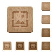 Wallpaper image on rounded square carved wooden button styles - Wallpaper image wooden buttons