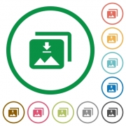 Download multiple images flat color icons in round outlines on white background - Download multiple images flat icons with outlines
