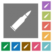 Bullet rifle ammo flat icons on simple color square backgrounds - Bullet rifle ammo square flat icons
