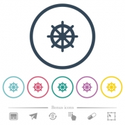 Steering wheel flat color icons in round outlines. 6 bonus icons included. - Steering wheel flat color icons in round outlines