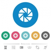 Aperture flat white icons on round color backgrounds. 6 bonus icons included. - Aperture flat round icons