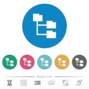 Folder structure flat white icons on round color backgrounds. 6 bonus icons included. - Folder structure flat round icons
