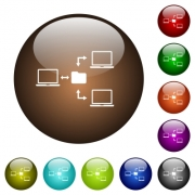 Network file system white icons on round color glass buttons - Network file system color glass buttons