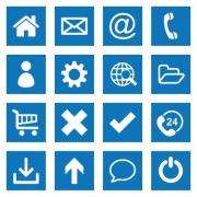 White flat basic web icon collection on blue rectangular backgrounds - White flat basic web icons on blue rectangular backgrounds