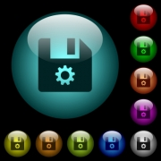 File settings icons in color illuminated spherical glass buttons on black background. Can be used to black or dark templates - File settings icons in color illuminated glass buttons