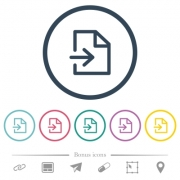 Import file flat color icons in round outlines. 6 bonus icons included. - Import file flat color icons in round outlines