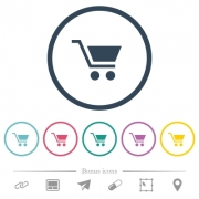 Empty shopping cart flat color icons in round outlines. 6 bonus icons included. - Empty shopping cart flat color icons in round outlines