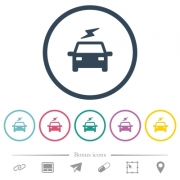 Electric car with flash flat color icons in round outlines. 6 bonus icons included. - Electric car with flash flat color icons in round outlines
