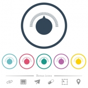 Volume control flat color icons in round outlines. 6 bonus icons included. - Volume control flat color icons in round outlines