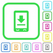 Mobile download vivid colored flat icons in curved borders on white background - Mobile download vivid colored flat icons
