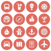 Set of 16 white flat travel icons on red background - Set of 16 flat travel icons