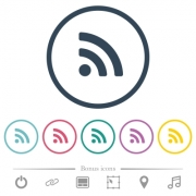 Radio signal flat color icons in round outlines. 6 bonus icons included. - Radio signal flat color icons in round outlines