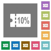 10 percent discount coupon flat icons on simple color square backgrounds - 10 percent discount coupon square flat icons