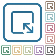 Resize object simple icons in color rounded square frames on white background - Resize object simple icons