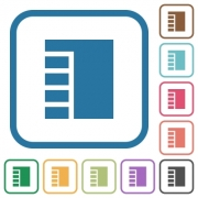 Vertical tabbed layout active simple icons in color rounded square frames on white background - Vertical tabbed layout active simple icons