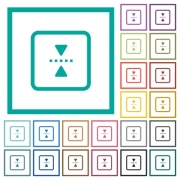 mirror object around horizontal axis flat color icons with quadrant frames on white background - mirror object around horizontal axis flat color icons with quadrant frames