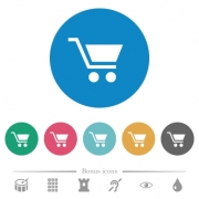 Empty shopping cart flat white icons on round color backgrounds. 6 bonus icons included. - Empty shopping cart flat round icons