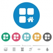Default component flat white icons on round color backgrounds. 6 bonus icons included. - Default component flat round icons