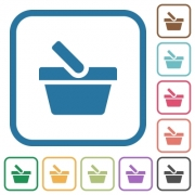 Shopping basket simple icons in color rounded square frames on white background - Shopping basket simple icons