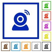 Wireless camera flat color icons in square frames on white background - Wireless camera flat framed icons