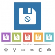 Disabled file flat white icons in square backgrounds. 6 bonus icons included. - Disabled file flat white icons in square backgrounds