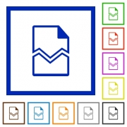 Broken page flat color icons in square frames on white background - Broken page flat framed icons
