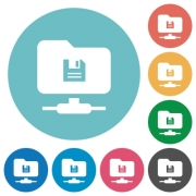 FTP save flat white icons on round color backgrounds - FTP save flat round icons
