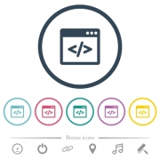 Programming code in software window flat color icons in round outlines. 6 bonus icons included. - Programming code in software window flat color icons in round outlines