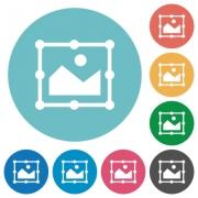 Image free transform flat white icons on round color backgrounds - Image free transform flat round icons