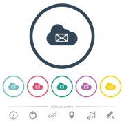 Cloud mail system flat color icons in round outlines. 6 bonus icons included. - Cloud mail system flat color icons in round outlines