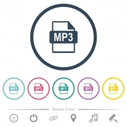 MP3 file format flat color icons in round outlines. 6 bonus icons included. - MP3 file format flat color icons in round outlines