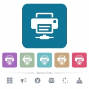 Network printer white flat icons on color rounded square backgrounds. 6 bonus icons included - Network printer flat icons on color rounded square backgrounds