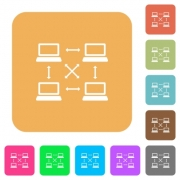 Content delivery network flat icons on rounded square vivid color backgrounds. - Content delivery network rounded square flat icons