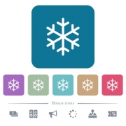 Single snowflake white flat icons on color rounded square backgrounds. 6 bonus icons included - Single snowflake flat icons on color rounded square backgrounds