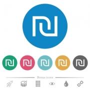 Israeli new Shekel sign flat white icons on round color backgrounds. 6 bonus icons included. - Israeli new Shekel sign flat round icons