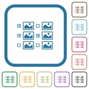 Multiple image selection with checkboxes simple icons in color rounded square frames on white background - Multiple image selection with checkboxes simple icons