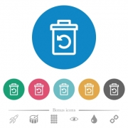 Undelete flat white icons on round color backgrounds. 6 bonus icons included. - Undelete flat round icons