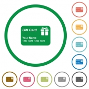 Gift card with name and numbers flat color icons in round outlines on white background - Gift card with name and numbers flat icons with outlines