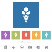 Ice cream flat white icons in square backgrounds. 6 bonus icons included. - Ice cream flat white icons in square backgrounds