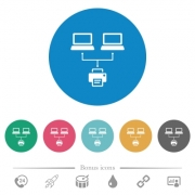 Network printing flat white icons on round color backgrounds. 6 bonus icons included. - Network printing flat round icons